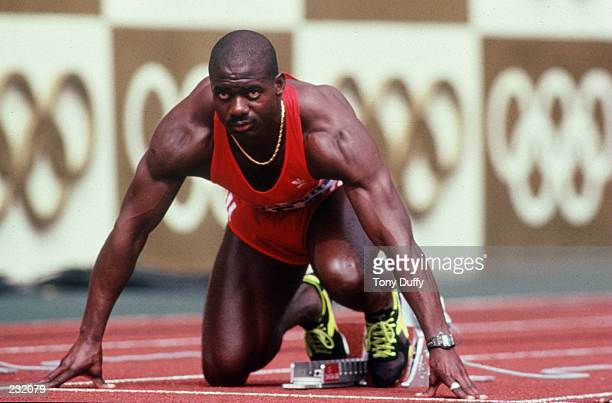 Ben Johnson of Canada is set in his block prior to the start of the men''s 100M Final at the 1988 Olympic Games in Seoul Korea Mandatory Credit Tony...