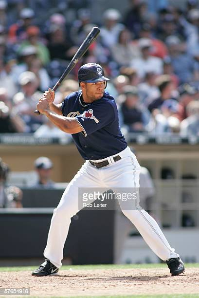 Ben Johnson of the San Diego Padres bats during the game against the Colorado Rockies at Petco Park in San Diego California on APRIL 9 2006 The...