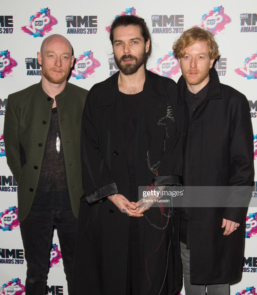 Ben Johnston, James Johnston and Simon Neil of Biffy Clyro arrives at the VO5 NME awards 2017 on February 15, 2017 in London, United Kingdom.