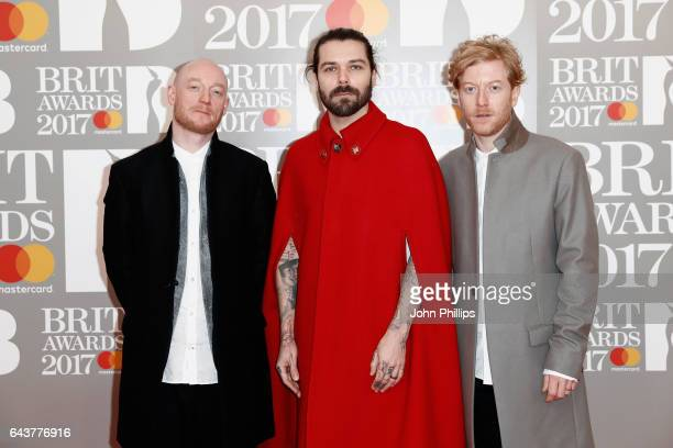 Ben Johnston Simon Neil and James Johnston of Biffy Clyro attend The BRIT Awards 2017 at The O2 Arena on February 22 2017 in London England