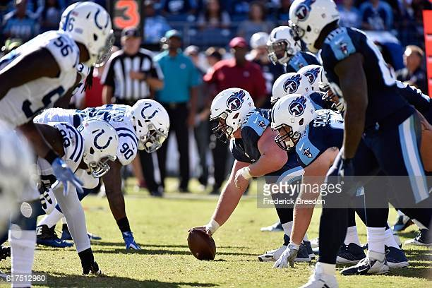 Ben Jones of the Tennessee Titans lines up across from Kendall Langford of the Indianapolis Colts during the second half at Nissan Stadium on October...