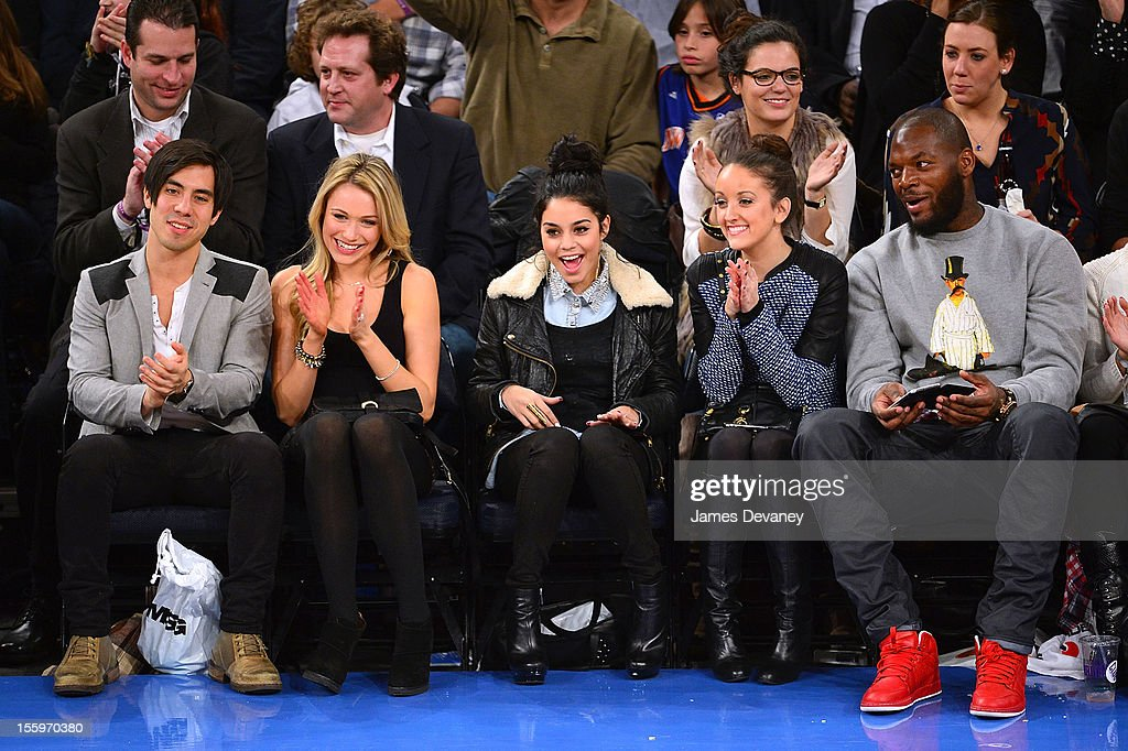 Ben Jorgensen, Katrina Bowden, Vanessa Hudgens, guest and Martellus Bennet attend the Dallas Mavericks vs New York Knicks game at Madison Square Garden on November 9, 2012 in New York City.