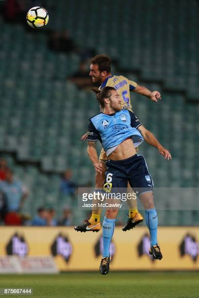 Ben Kantarovski of the Jets and Joshua Brillante of Sydney compete for the ball during the round seven ALeague match between Sydney FC and Newcastle...