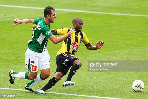 Ben Kantarovski of the Jets and Roly Bonevacia of the Phoenix compete for the ball during the round 18 ALeague match between Wellington Phoenix and...