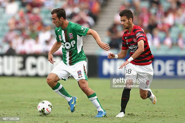 Ben Kantarovski of the Jets dribbles the ball during the round 22 ALeague match between the Western Sydney Wanderers and the Newcastle Jets at Pirtek...