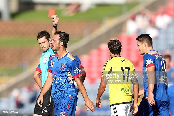 Ben Kantarovski of the Jets receives a red card during the round 15 ALeague match between the Newcastle Jets and the Wellington Phoenix at Hunter...