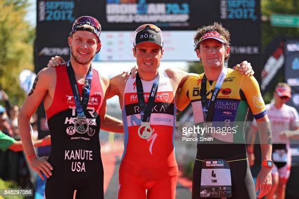 Ben Kanute of the USA Javier Gomez of Spain and Tim Don of Great Britain pose after the IRONMAN 703 Men's World Championship on September 10 2017 in...