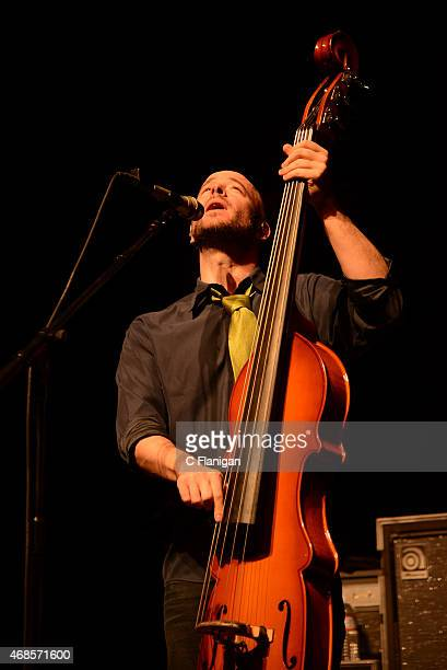 Ben Kaufman of The Yonder Mountain String Band performs at The Fox Theater on April 3 2015 in Oakland California