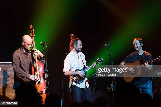 Ben Kaufmann Jake Joliff Adam Aijala of Yonder Mountain String Band perform on stage at The Variety Playhouse on February 13 2016 in Atlanta Georgia