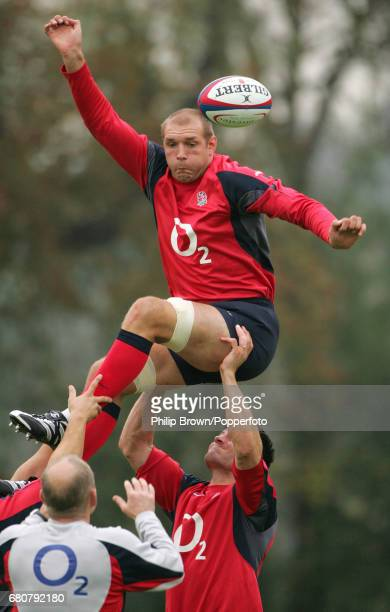 Ben Kay of England in action during a training session prior to their match against Argentina at Bisham Abbey in Marlow on the 17th November 2006