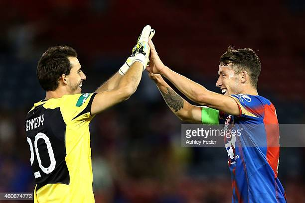 Ben Kennedy and Scott Neville of the Jets celebrate after winning the round 12 ALeague match between the Newcastle Jets and Adelaide United at Hunter...