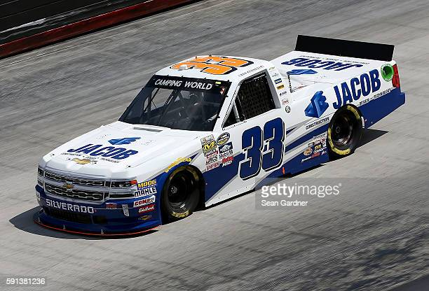 Ben Kennedy driver of the Jacob Chevrolet drives during practice for the NASCAR Camping World Truck Series UNOH 200 at Bristol Motor Speedway on...