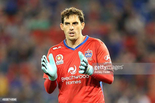 Ben Kennedy goalkeeper of the Jets in action during the round three ALeague match between the Newcastle Jets and the Melbourne Victory at Hunter...