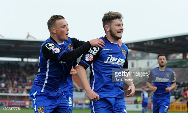 Ben Kennedy of Stevenage celebrates his sides second goal during the Sky Bet League Two match between Exeter City and Stevenage at St James Park on...