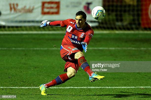 Ben Kennedy of the Jets kicks out from goal during the FFA Cup Round of 32 match between the Newcastle Jets and the Melbourne Victory at Magic Park...