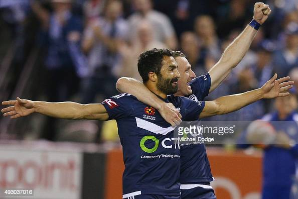 Ben Khalfallah of the Victory celebrates a goal with Besart Berisha during the round two ALeague match between Melbourne Victory and Melbourne City...