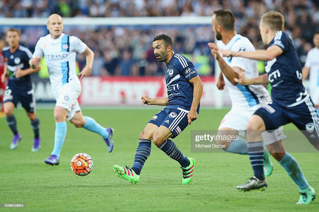 Ben Khalfallah of the Victory kicks the ball during the round 19 A-League match between Melbourne City FC and Melbourne Victory at AAMI Park on February 13, 2016 in Melbourne, Australia.
