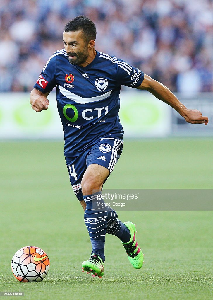 Ben Khalfallah of the Victory runs with the ball during the round 19 A-League match between Melbourne City FC and Melbourne Victory at AAMI Park on February 13, 2016 in Melbourne, Australia.