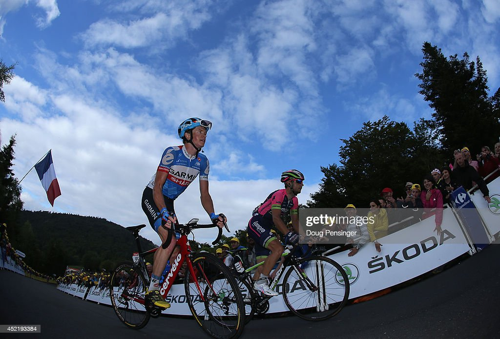Ben King of Australia and Garmin-Sharp and Kristijan Durasek of Croatia and Lampre-Merida make the climb to the finish of stage ten of the 2014 Le Tour de France from Mulhouse to La Planche des Belles Filles on July 14, 2014 in La Planche des Belles Filles, France.