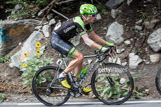 Ben King of the CannondaleGarmin Pro Cycling Team on a climb during stage 6 of the Tour of Utah on August 8 2015 in Salt Lake City Utah