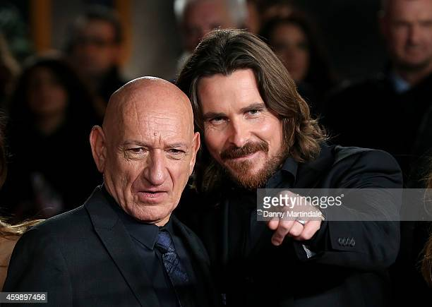 Ben Kingsley and Christian Bale attends the World Premiere of 'Exodus Gods and Kings' at Odeon Leicester Square on December 3 2014 in London England