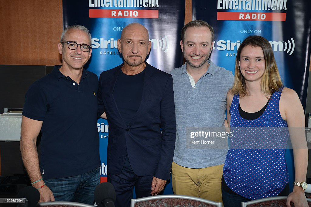 Ben Kingsley poses with Jess Cagle and radio hosts Mario Correa and Julia Cunningham after being interviewed on SiriusXM's Entertainment Weekly Radio channel from Comic-Con 2014 at The Hard Rock Hotel on July 25, 2014 in San Diego, California.