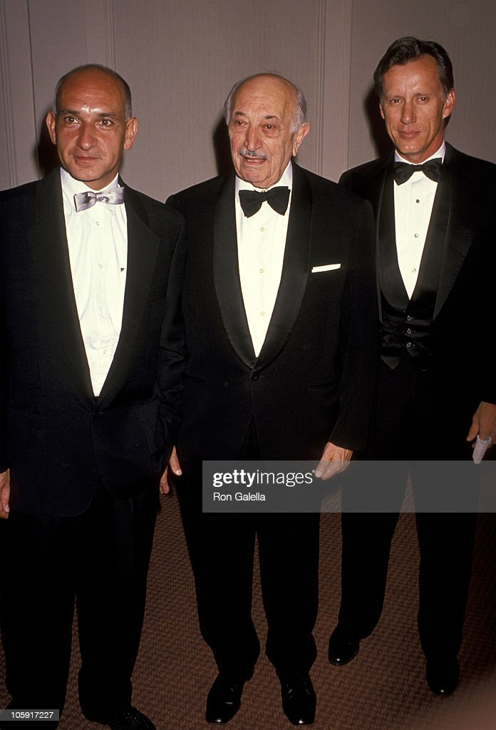 Ben Kingsley, Simon Wiesenthal, and James Woods during 1989 National Tribute Dinner Hosted By The Simon Weisenthal Center at Century Plaza Hotel in Century City, California, United States.