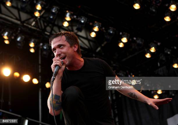 Ben Kowalewicz of Canadian band Billy Talent performs on stage during the Soundwave Festival on February 22 2009 in Sydney Australia
