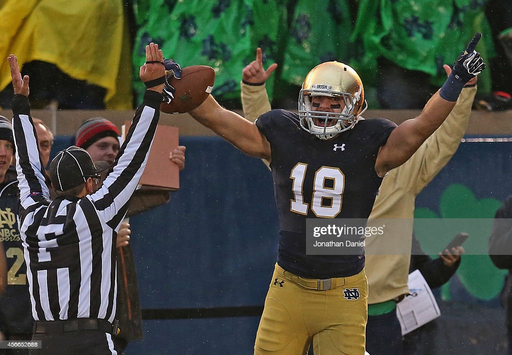 Ben Koyack of the Notre Dame Fighting Irish celebrates catching the gamewinning touchdown pass against the Standford Cardinal at Notre Dame Stadium...
