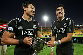 Ben Lam and Rieko Ioane of New Zealand celebrate after winning the 2016 Wellington Sevens cup final match between New Zealand and South Africa at...