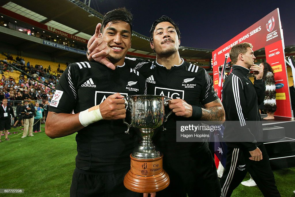 <a gi-track='captionPersonalityLinkClicked' href=/galleries/search?phrase=Ben+Lam&family=editorial&specificpeople=8776802 ng-click='$event.stopPropagation()'>Ben Lam</a> (L) and Rieko Ioane of New Zealand celebrate after winning the 2016 Wellington Sevens cup final match between New Zealand and South Africa at Westpac Stadium on January 31, 2016 in Wellington, New Zealand.