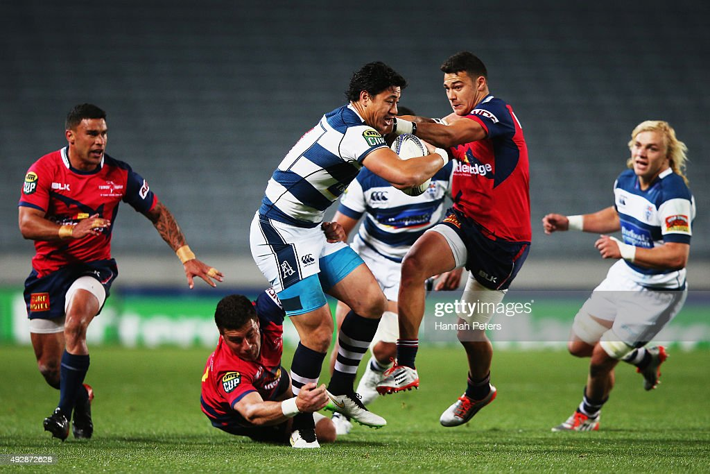 <a gi-track='captionPersonalityLinkClicked' href=/galleries/search?phrase=Ben+Lam&family=editorial&specificpeople=8776802 ng-click='$event.stopPropagation()'>Ben Lam</a> of Auckland charges forward during the ITM Cup Semi Final between Auckland and Tasman at Eden Park on October 16, 2015 in Auckland, New Zealand.