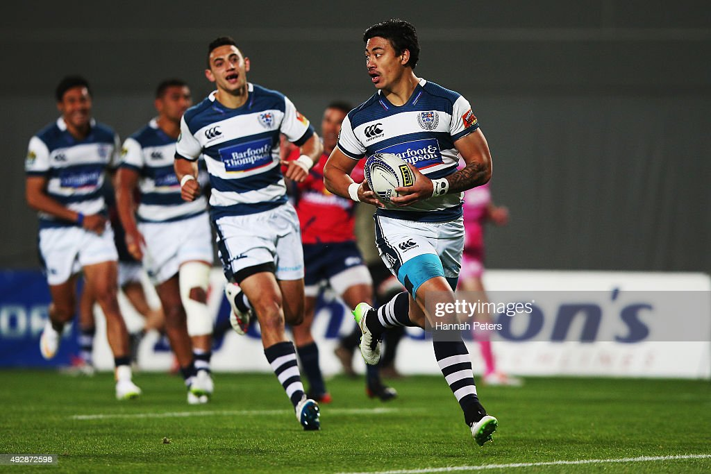Ben Lam of Auckland runs in to score a try during the ITM Cup Semi Final between Auckland and Tasman at Eden Park on October 16 2015 in Auckland New...
