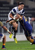 Ben Lam of Auckland takes the high ball during the round 15 ITM Cup match between Otago and Auckland at Forsyth Barr Stadium on October 11 2012 in...