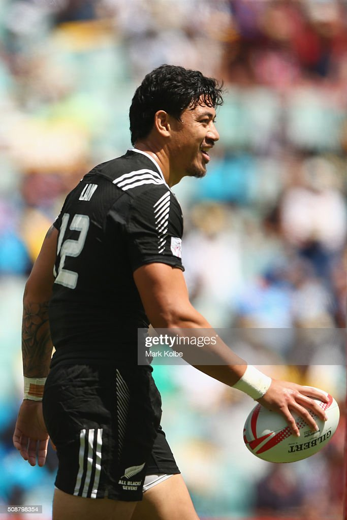 Ben Lam of New Zealand celebrates scoring a try during the 2016 Sydney Sevens cup quarter final match between New Zealand and the United States of...