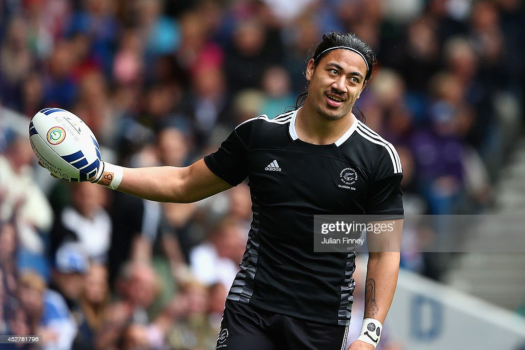 Ben Lam of New Zealand celebrates scoring a try in the quarter final match between New Zealand and Kenya during the Rugby Sevens at Ibrox Stadium...