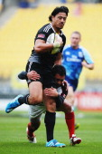 Ben Lam of New Zealand charges forward during the quarter final match between New Zealand and Canada at Westpac Stadium on February 7 2014 in...