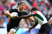 Ben Lam of New Zealand in action in the quarter final match between New Zealand and Kenya during the Rugby Sevens at Ibrox Stadium during day four of...