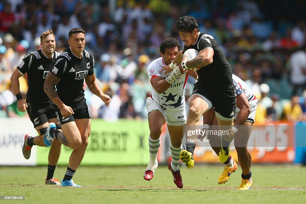 Ben Lam of New Zealand is tackled during the 2016 Sydney Sevens cup quarter final match between New Zealand and the United States of America at...