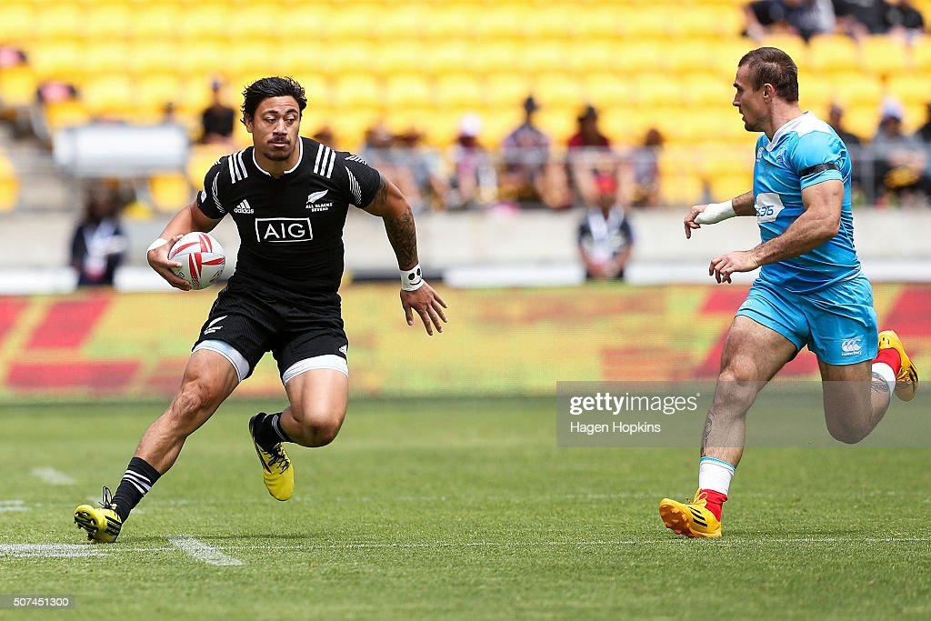 Ben Lam of New Zealand on attack during the 2016 Wellington Sevens pool match between New Zealand and Russia at Westpac Stadium on January 30 2016 in...
