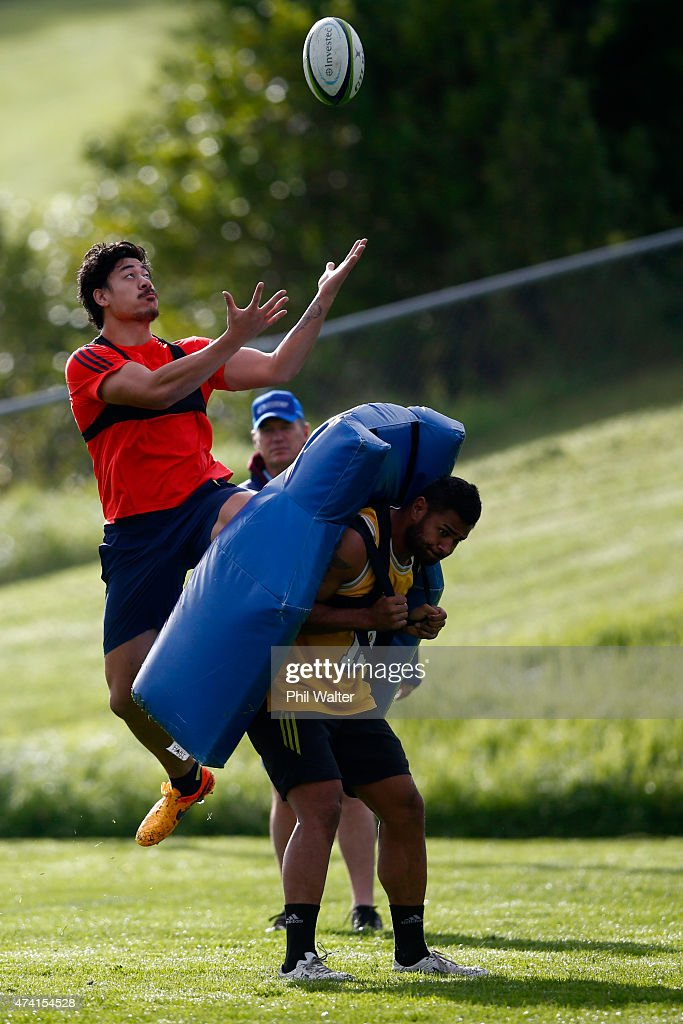 Ben Lam of the Blues takes a high ball during an Auckland Blues Super Rugby training session at Unitec on May 21 2015 in Auckland New Zealand