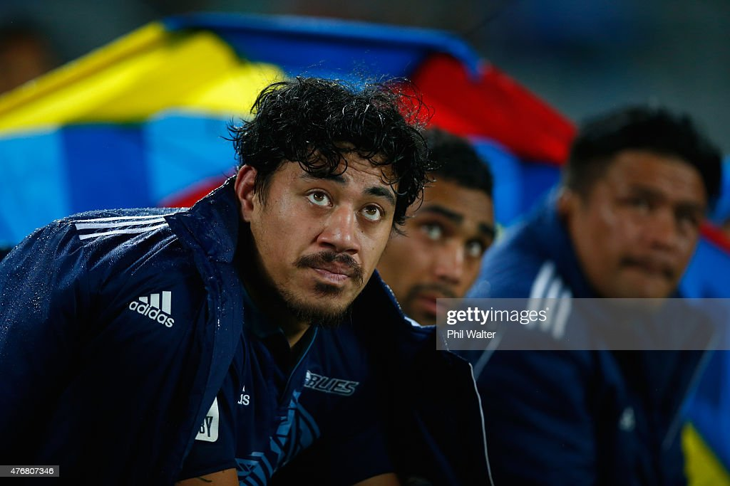Ben Lam of the Blues watches from the bench during the round 18 Super Rugby match between the Blues and the Highlanders at Eden Park on June 12 2015...