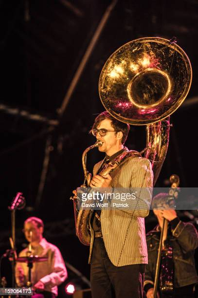 Ben Lanz from Beirut performs at We Love Green Festival at Parc de Bagatelle on September 15 2012 in Paris France