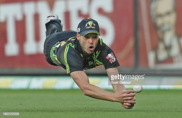 Ben Laughlin of Australia drops a catch in the outfield during game two of the Twenty20 International series between Australia and Sri Lanka at the...