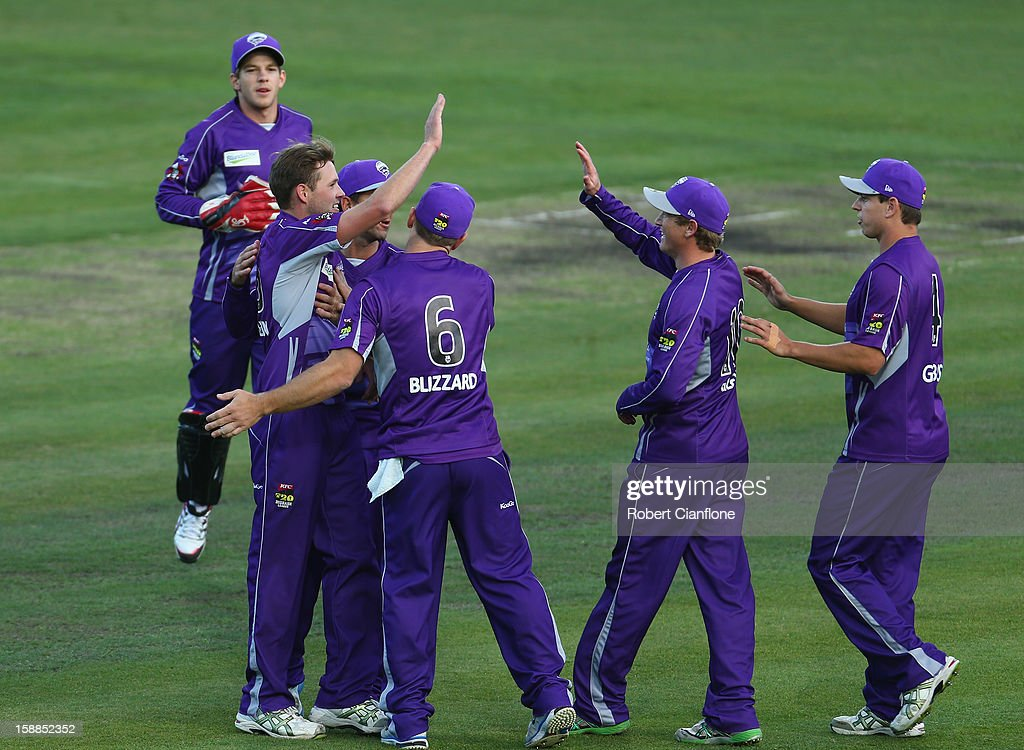 Ben Laughlin of the Hurricanes celebrates the wicket of Marcus North of the Scorchers during the Big Bash League match between the Hobart Hurricanes and the Perth Scorchers at Blundstone Arena on January 1, 2013 in Hobart, Australia.