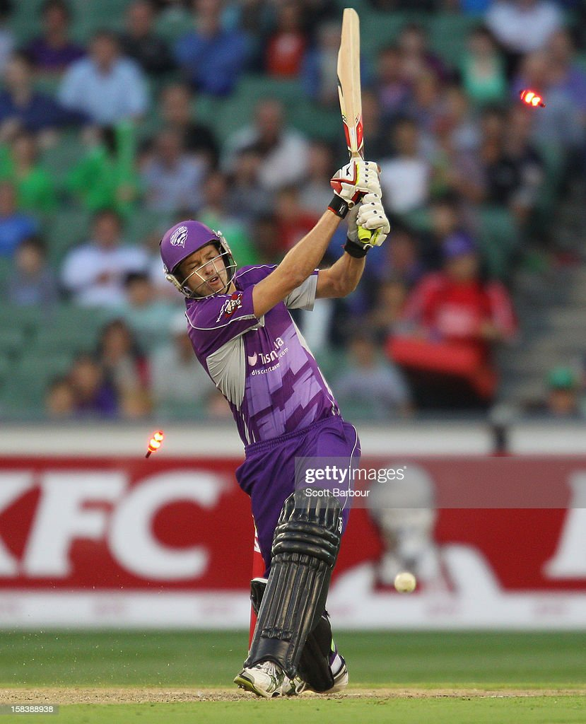 Ben Laughlin of the Hurricanes is bowled out by Lasith Malinga of the Stars during the Big Bash League match between the Melbourne Stars and the Hobart Hurricanes at the Melbourne Cricket Ground on December 15, 2012 in Melbourne, Australia.