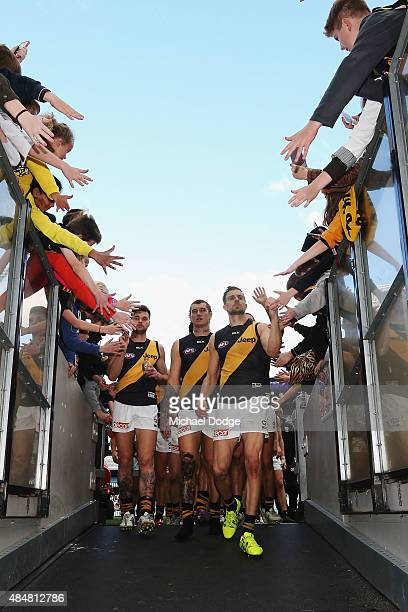 Ben Lennon Dustin Martin and Brett Deledio of the Tigers celebrate the win with fans during the round 21 AFL match between the Collingwood Magpies...