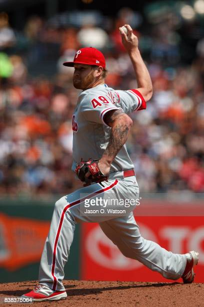 Ben Lively of the Philadelphia Phillies pitches against the San Francisco Giants during the first inning at ATT Park on August 20 2017 in San...