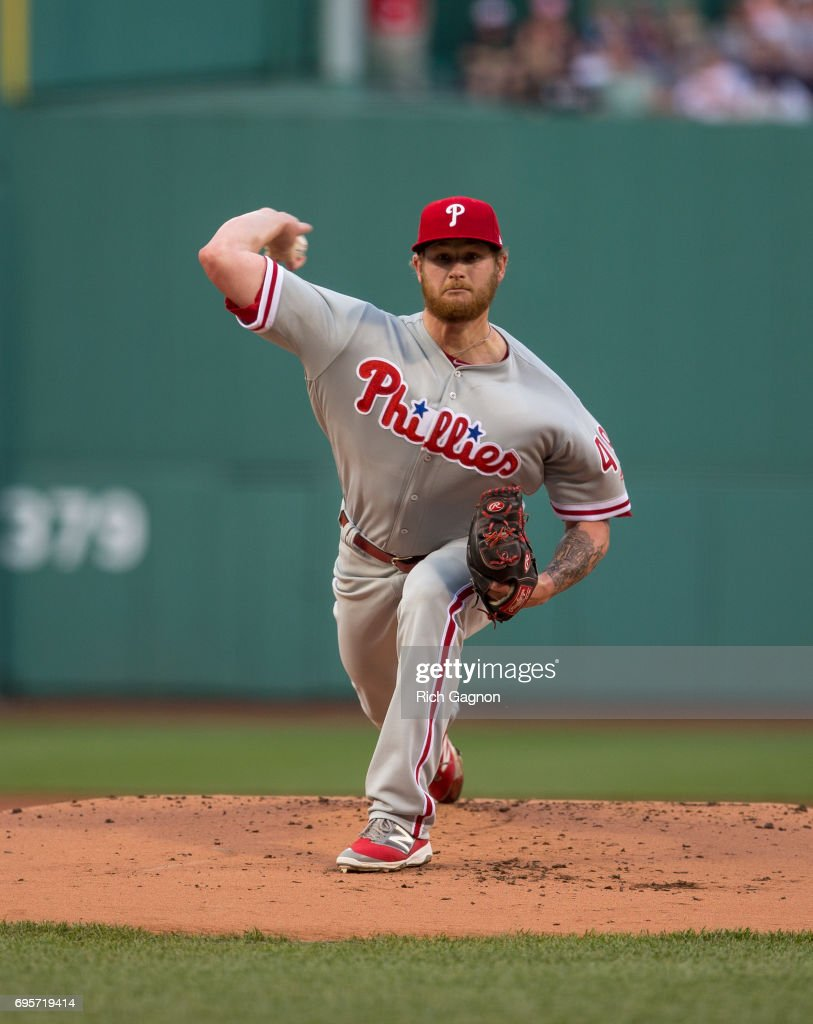 Ben Lively #49 of the Philadelphia Phillies pitches during the first inning against the Boston Red Sox at Fenway Park on June 13, 2017 in Boston, Massachusetts.