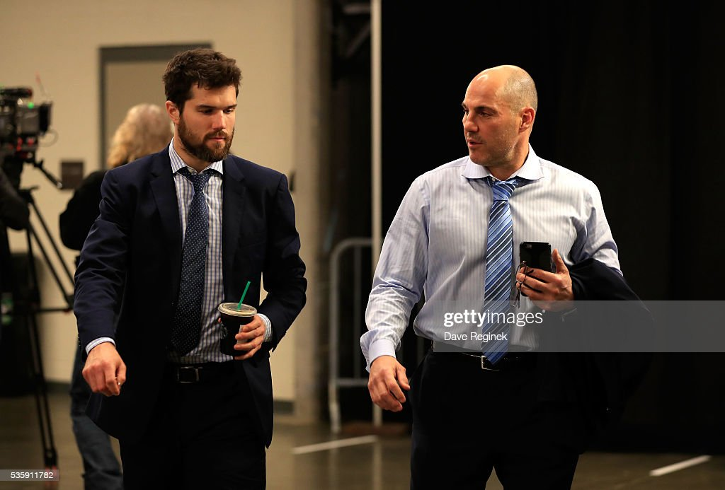 <a gi-track='captionPersonalityLinkClicked' href=/galleries/search?phrase=Ben+Lovejoy&family=editorial&specificpeople=4509565 ng-click='$event.stopPropagation()'>Ben Lovejoy</a> #12, left, and assistant coach <a gi-track='captionPersonalityLinkClicked' href=/galleries/search?phrase=Rick+Tocchet&family=editorial&specificpeople=228997 ng-click='$event.stopPropagation()'>Rick Tocchet</a> of the Pittsburgh Penguins arrive at the arena prior to Game One of the 2016 NHL Stanley Cup Final at Consol Energy Center on May 30, 2016 in Pittsburgh, Pennsylvania.